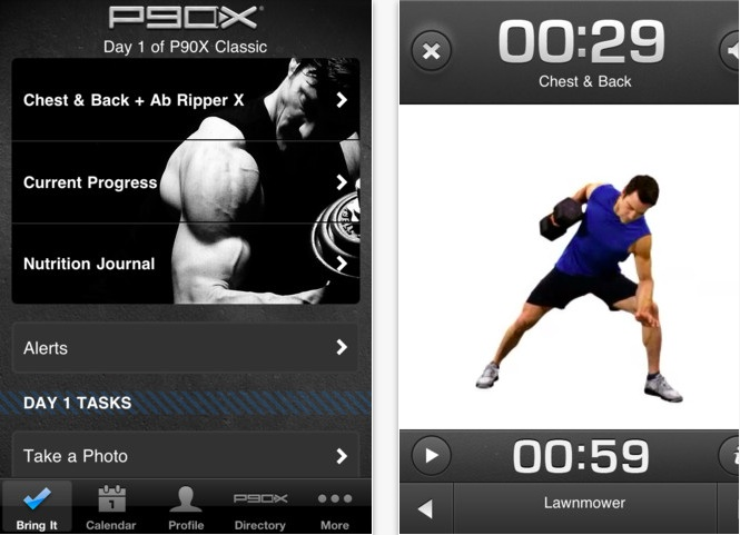 The P90X app has every workout from the original plan (don't forget, P90X 2 comes out in one month!), and it even allows you to follow the classic or lean programs, tracking your workouts and logging your nutrition on your phone. You can set reminders and the app will text (nag) you if you haven't checked in by a certain time.
