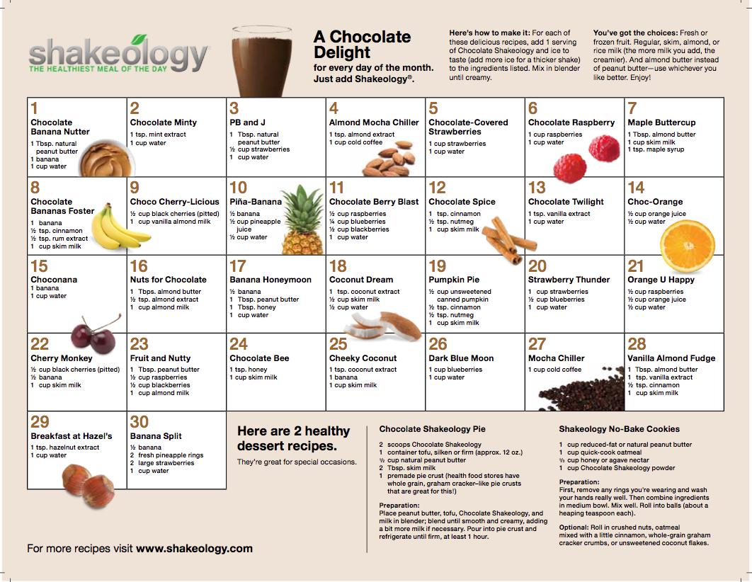 Chocolate-Shakeology-Recipes-30-Day-Calender
