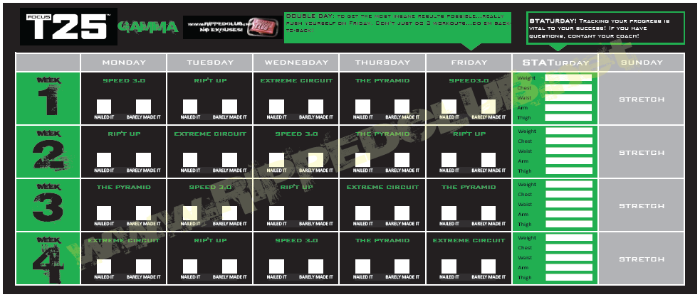 graphic about T25 Schedule Printable known as Notice T25 Training Routine - Absolutely free PDF Calendar for ALL