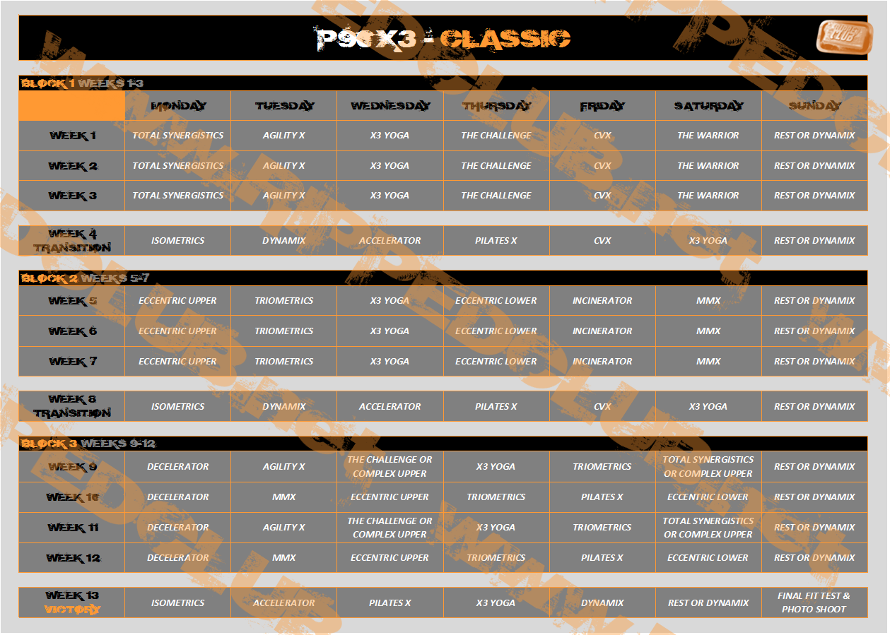 photo regarding Insanity Workout Schedule Printable titled P90X3 Exercise routine Program - Free of charge PDF Calendars For All Levels
