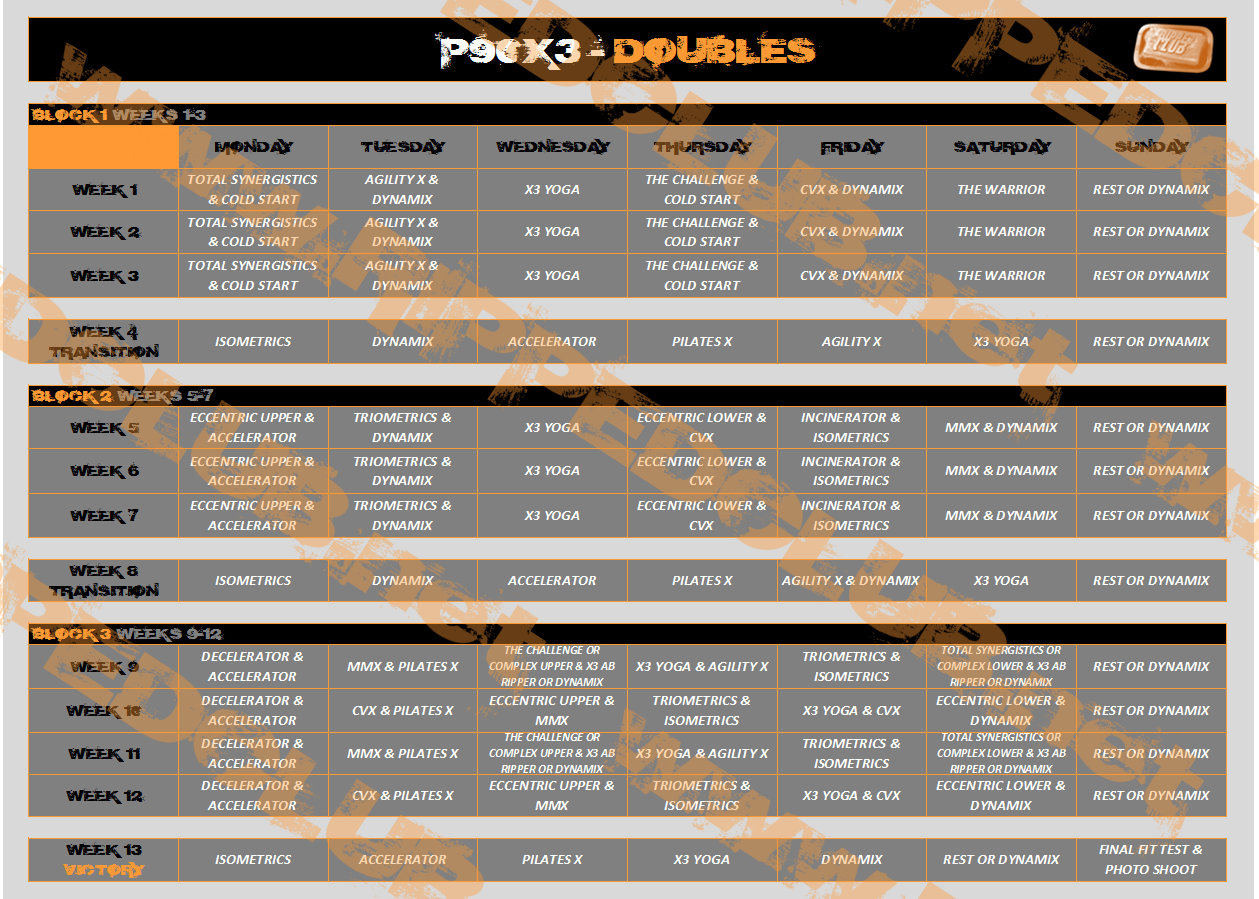 P90X3 Workout Schedule - Free PDF Calendars For All Phases