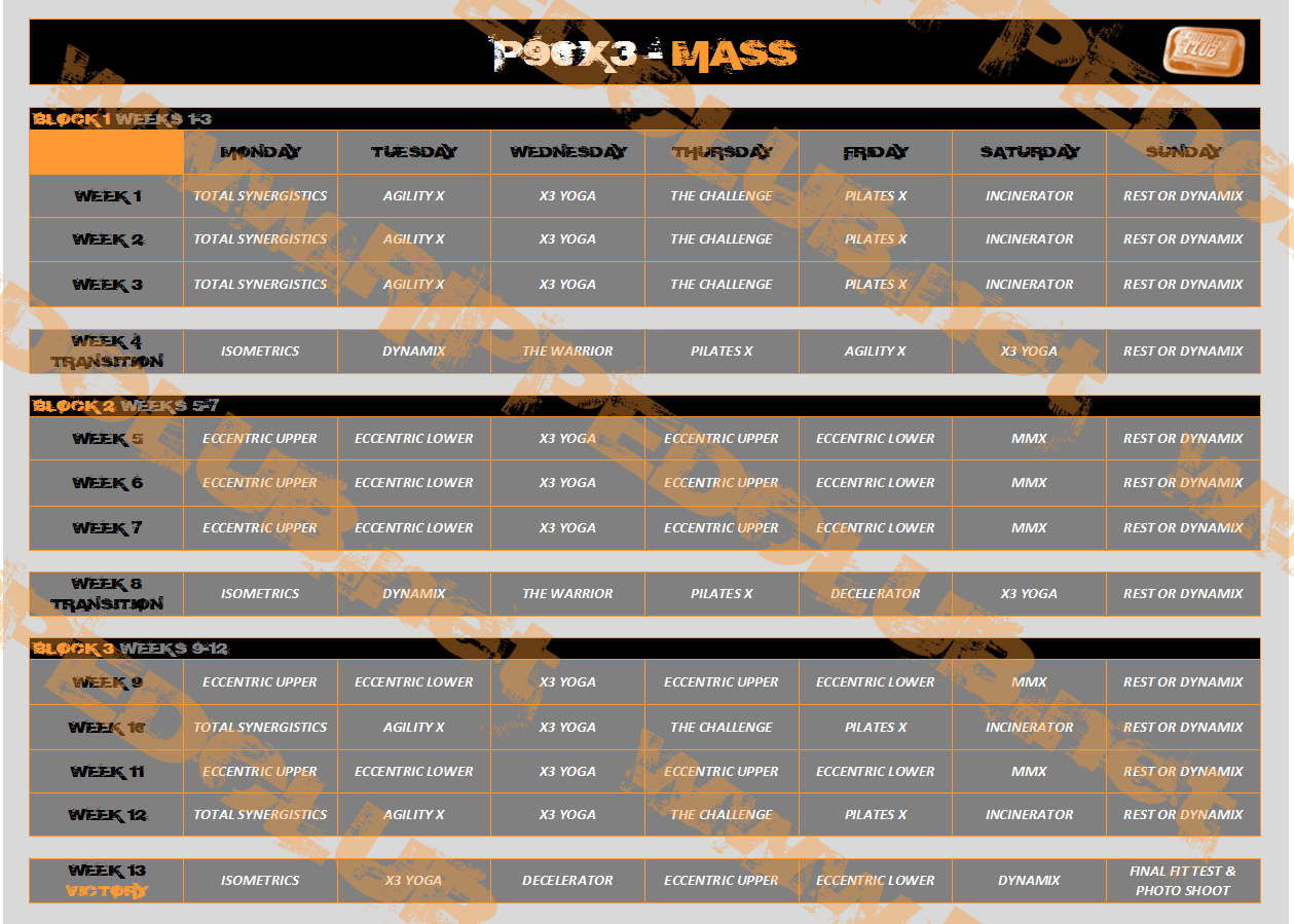 P90X3 Workout Schedule - Free PDF Calendars For All Phases ...