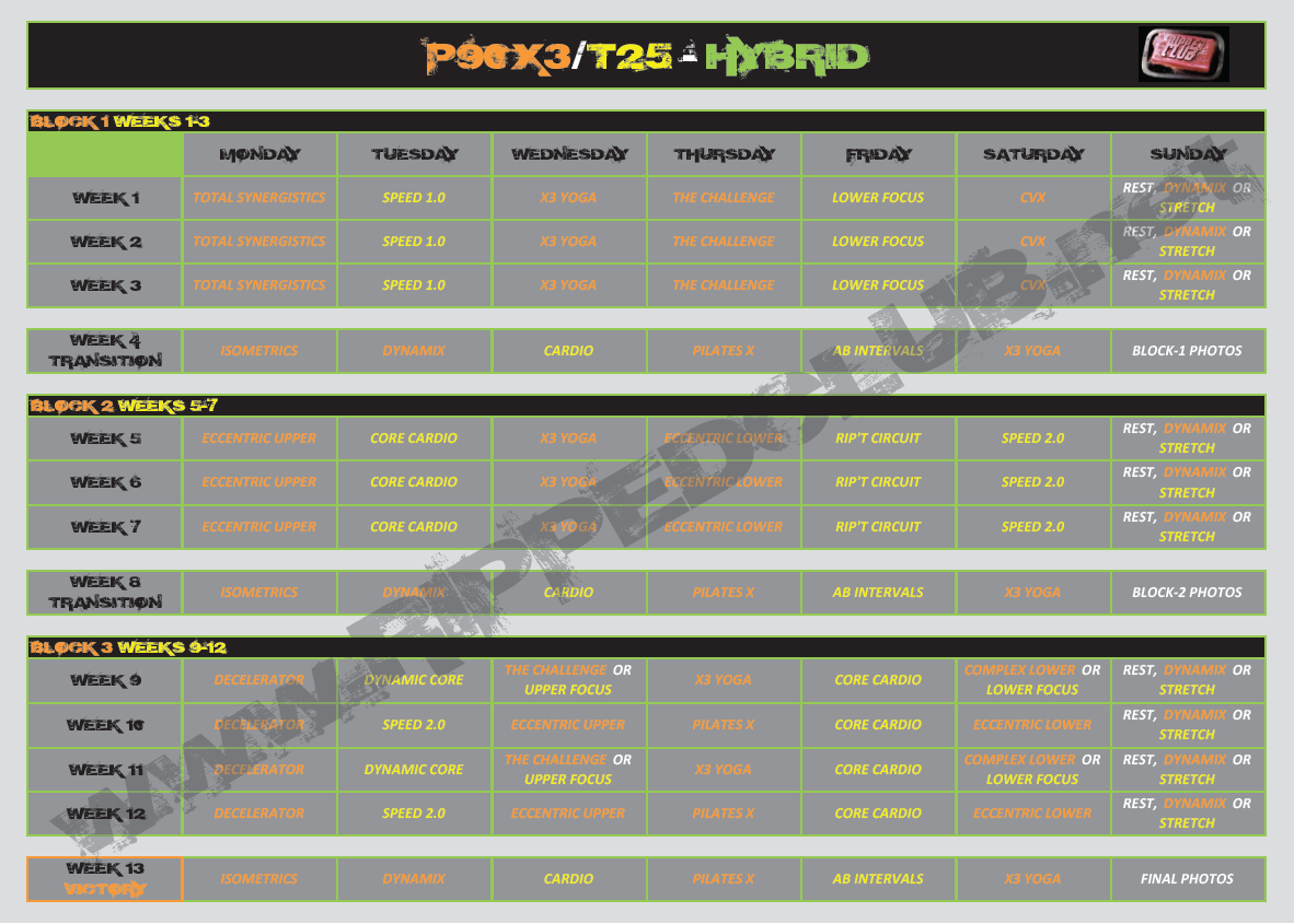 photo regarding T25 Schedule Printable identified as P90X3-T25 Hybrid Agenda Exercise Calendar RIPPEDCLUB