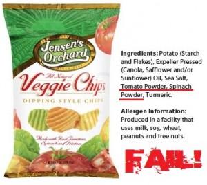 food label scams veggie chips