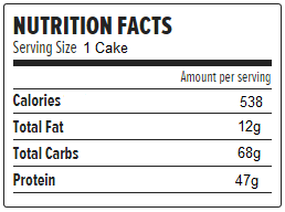 90 sec protein cake macros